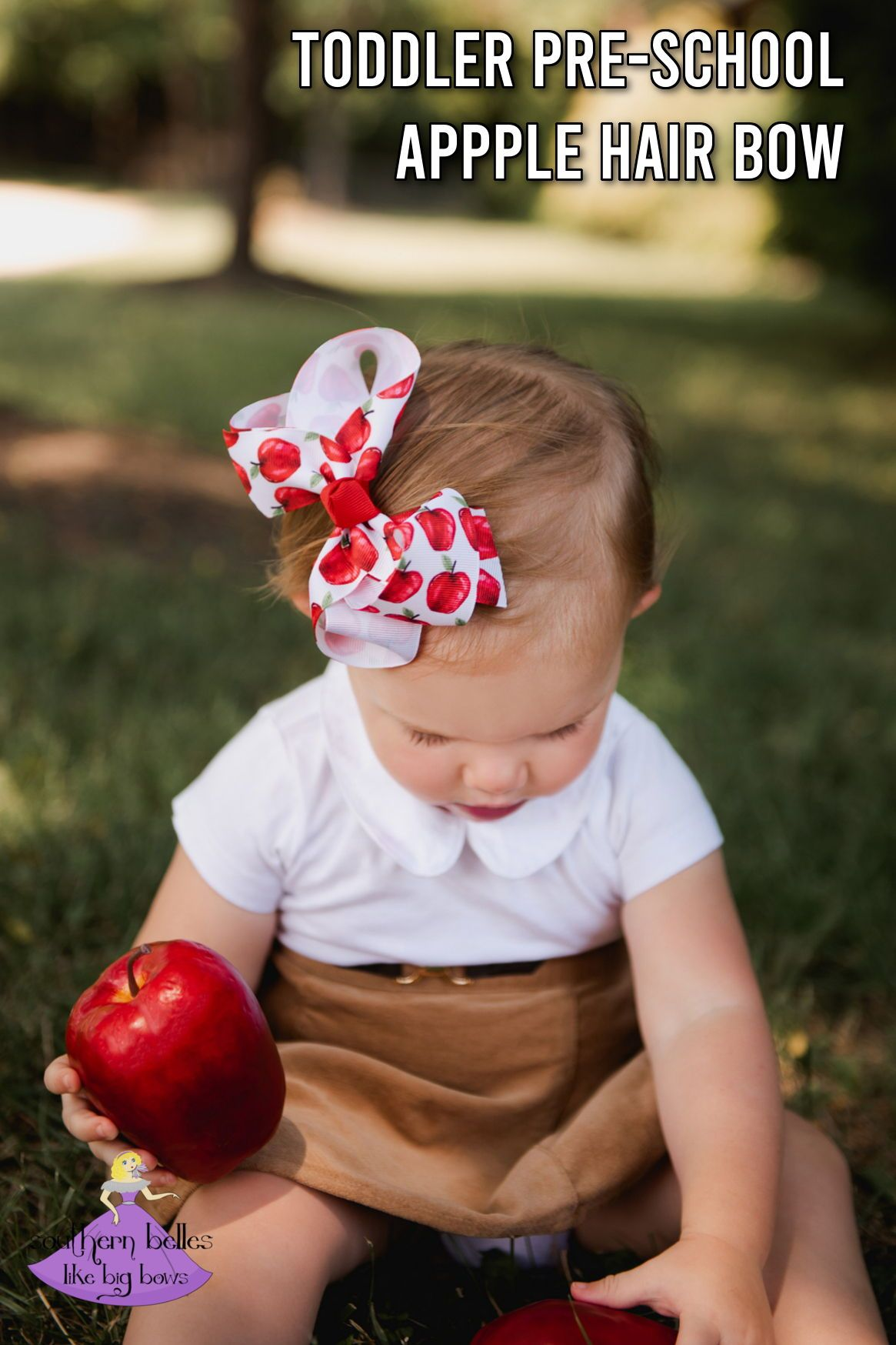 Back to School Apple Hair Bow - Small & Medium #firstdayofschoolhairstyles