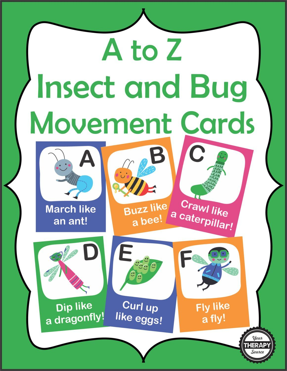 A to Z Insect and Bug Movement Cards Cover   Active play   Pinterest ...