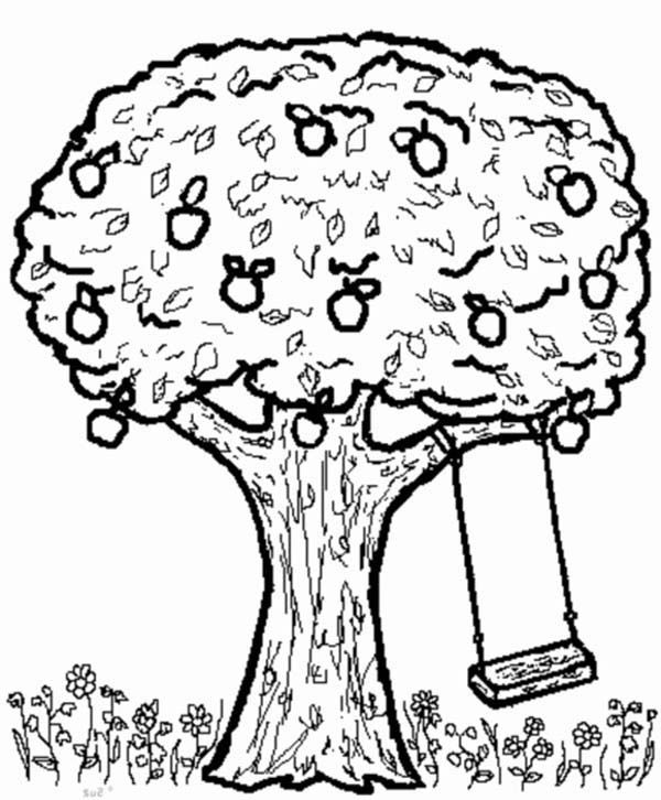 Apple Tree And Swing Coloring Page Kids Play Color Tree Coloring Page Apple Coloring Pages Coloring Pages
