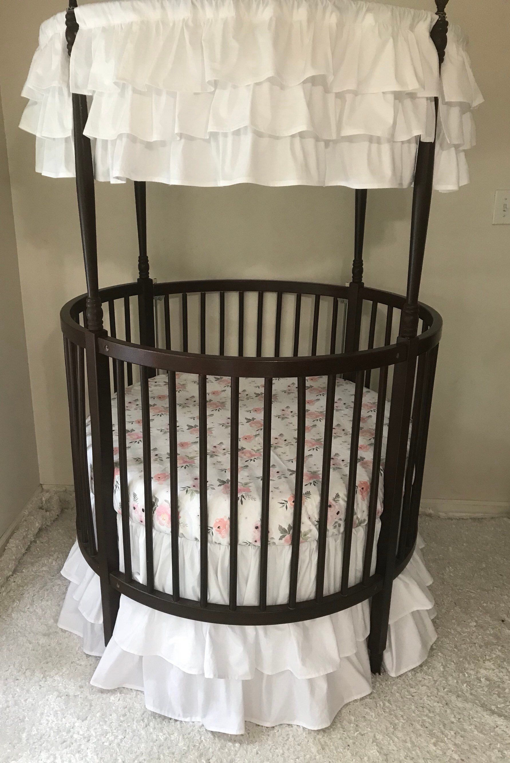 Round Crib Bedding Set White Pink And Gray Watercolor Floral