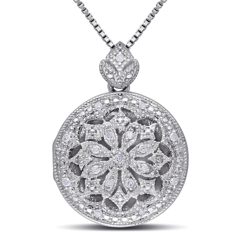 b8adb8600116b Miadora Sterling Silver Vintage 1/10ct TDW Diamond Locket Floral ...