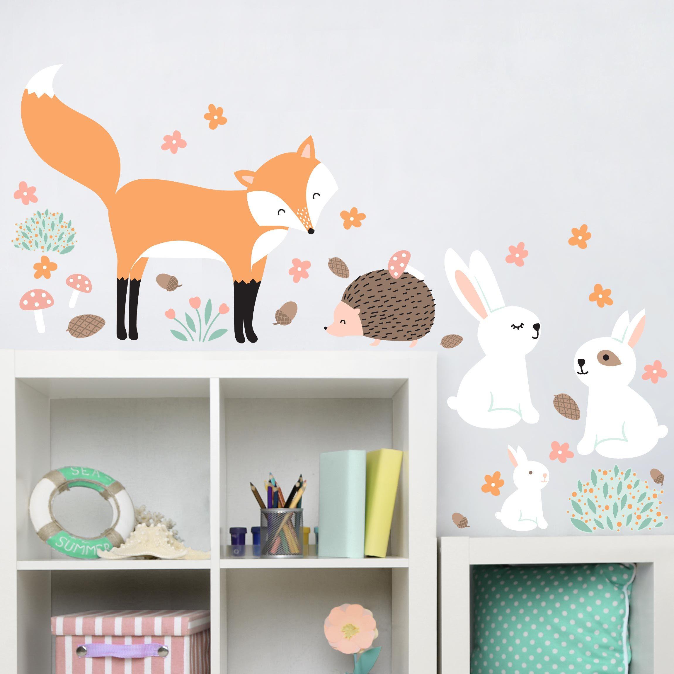 WE LOVE THE FOX #fuchs #Wandtattoo #wald #kinderzimmer #babyzimmer #igel