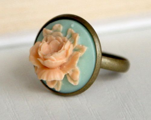Peach and turquoise cameo flower