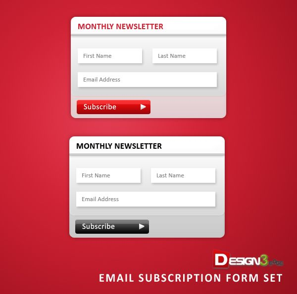 Email Subscription Form Set PSD template Pinterest Psd - email survey template