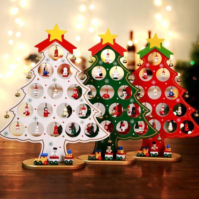 Diy Christmas Ornament Wooden Xmas Tree Hanging Decoration Home Garden Gift No Christmas Tree Table Decorations Christmas Tree On Table Wooden Christmas Trees