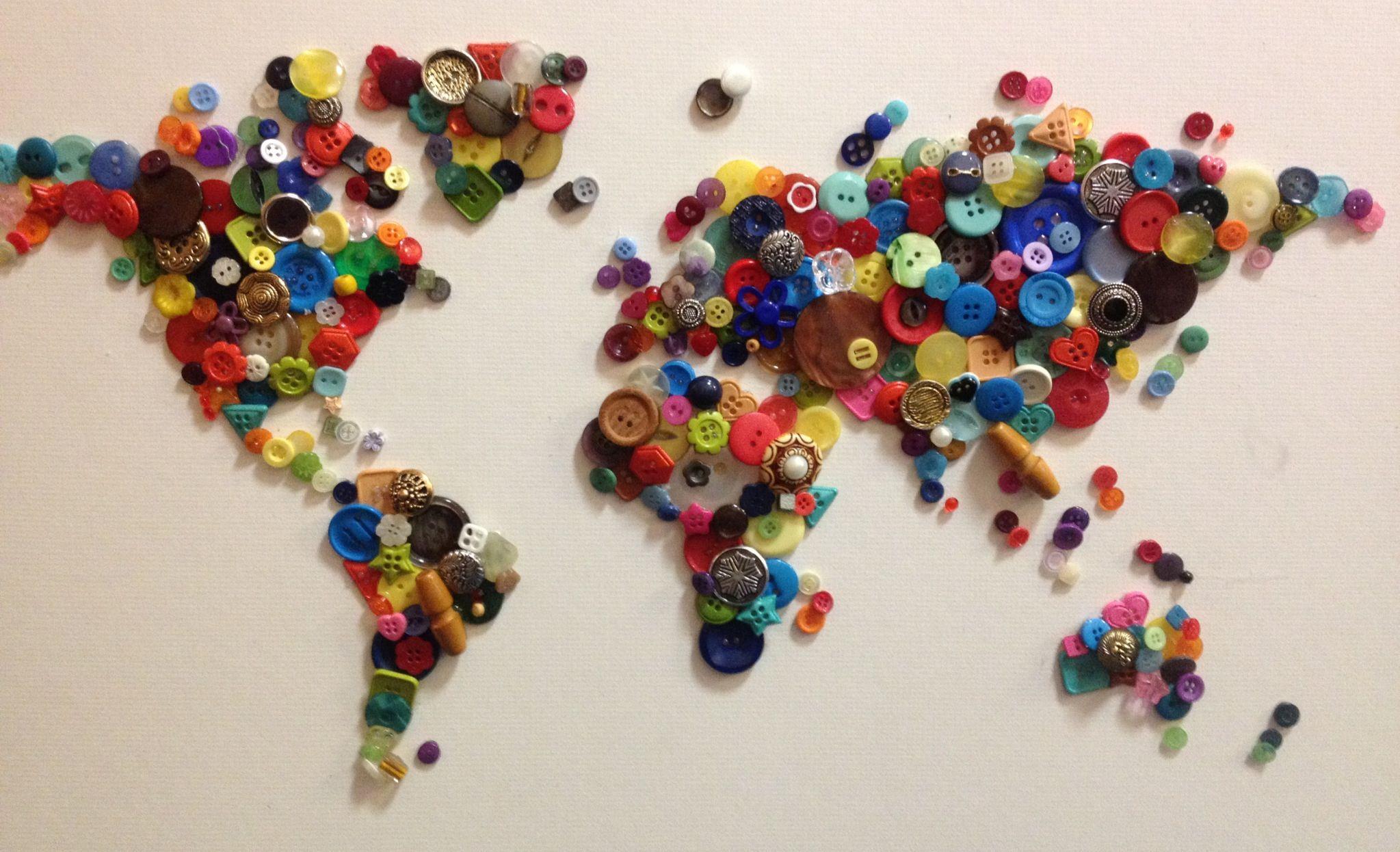 Button art craft world map colourful wall art button art button art craft world map colourful wall art gumiabroncs Images