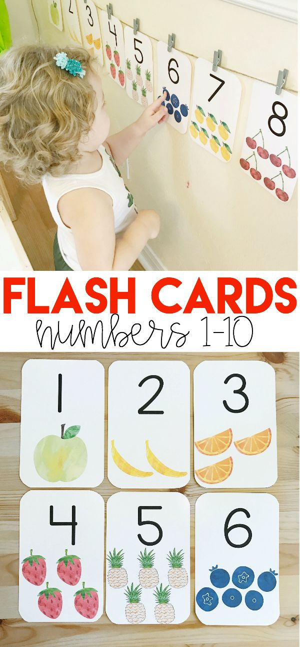 Watercolor Number Picture Cards Number Wall Cards 1 10 Math