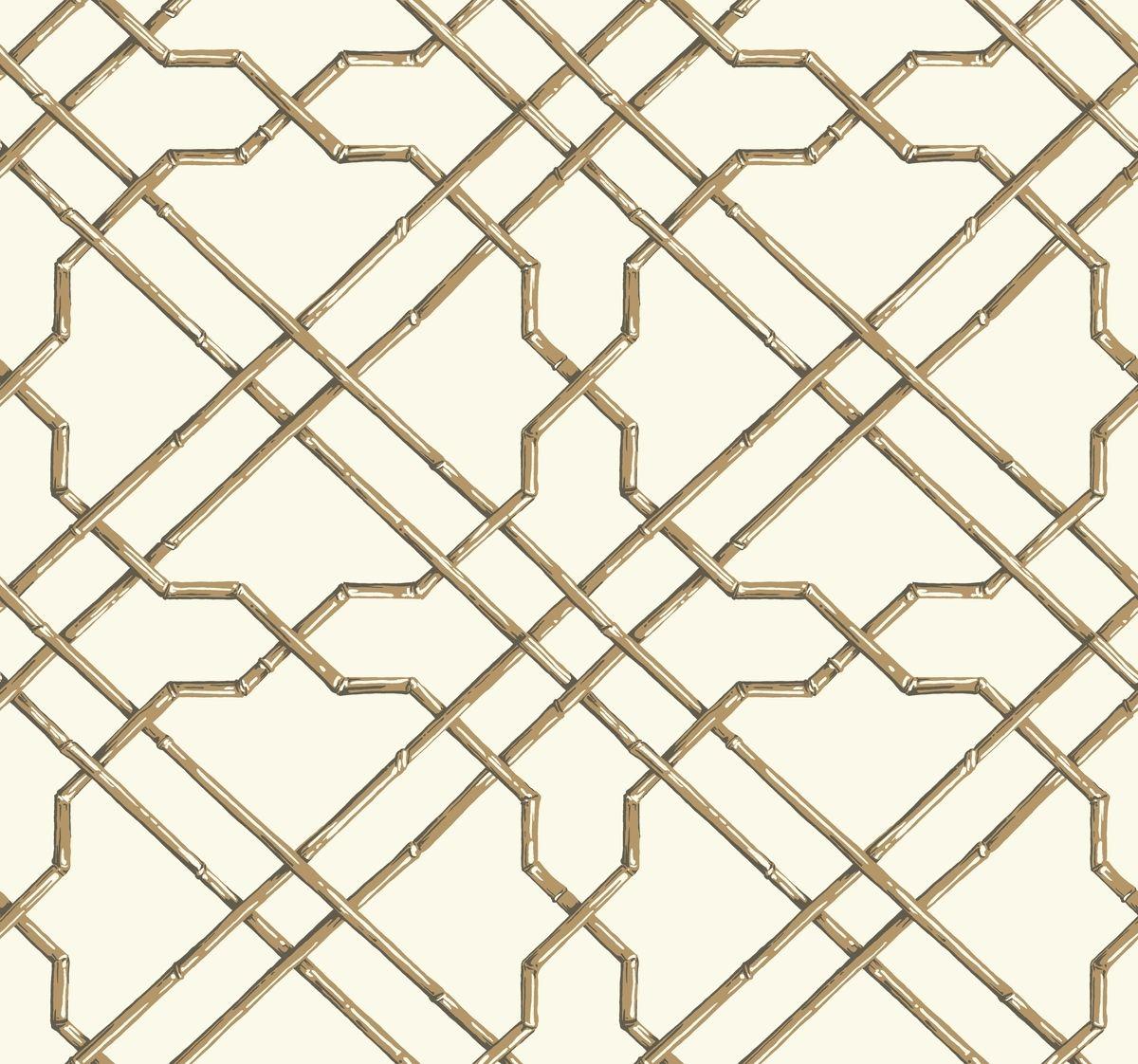 York At7074 Tropics Bamboo Trellis Wallpaper White Tan