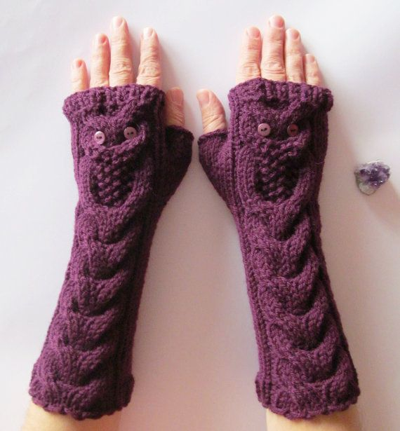 Purple Long Hand Knitted Gloves with Owls