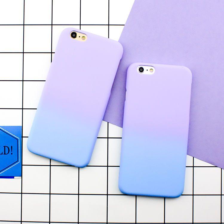 Fashion Simple Cute Purple Blue Matte Hard Case Cover Skin For Iphone 6 6s Plus Iphone Phone Cases Apple Phone Case Phone Case Accessories