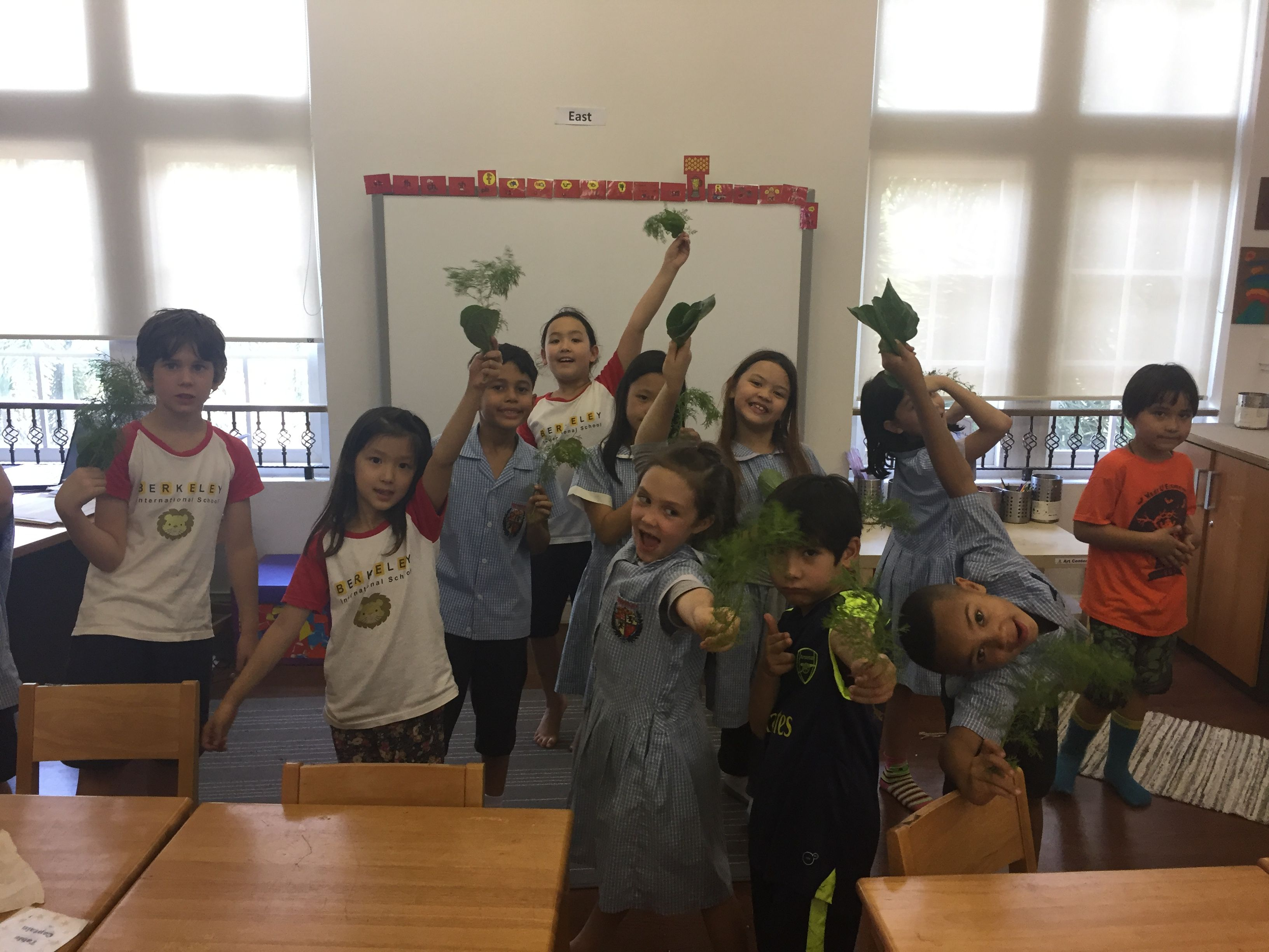 We enjoyed our first harvest from Berkeley's Garden! Each of the students took some of it home to enjoy and share with their families.