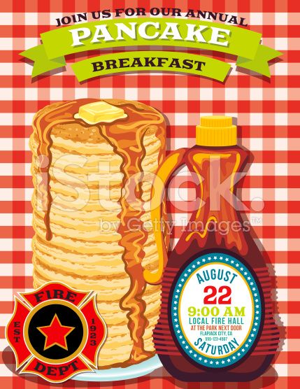 poster or flyer for a pancake breakfast fundraiser event there is a