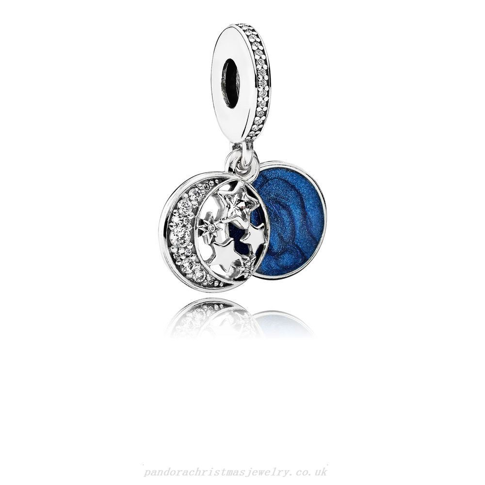 Authentic Vintage Night Sky Shimmering Midnight Blue Dangle Charm Clear CZ Bead