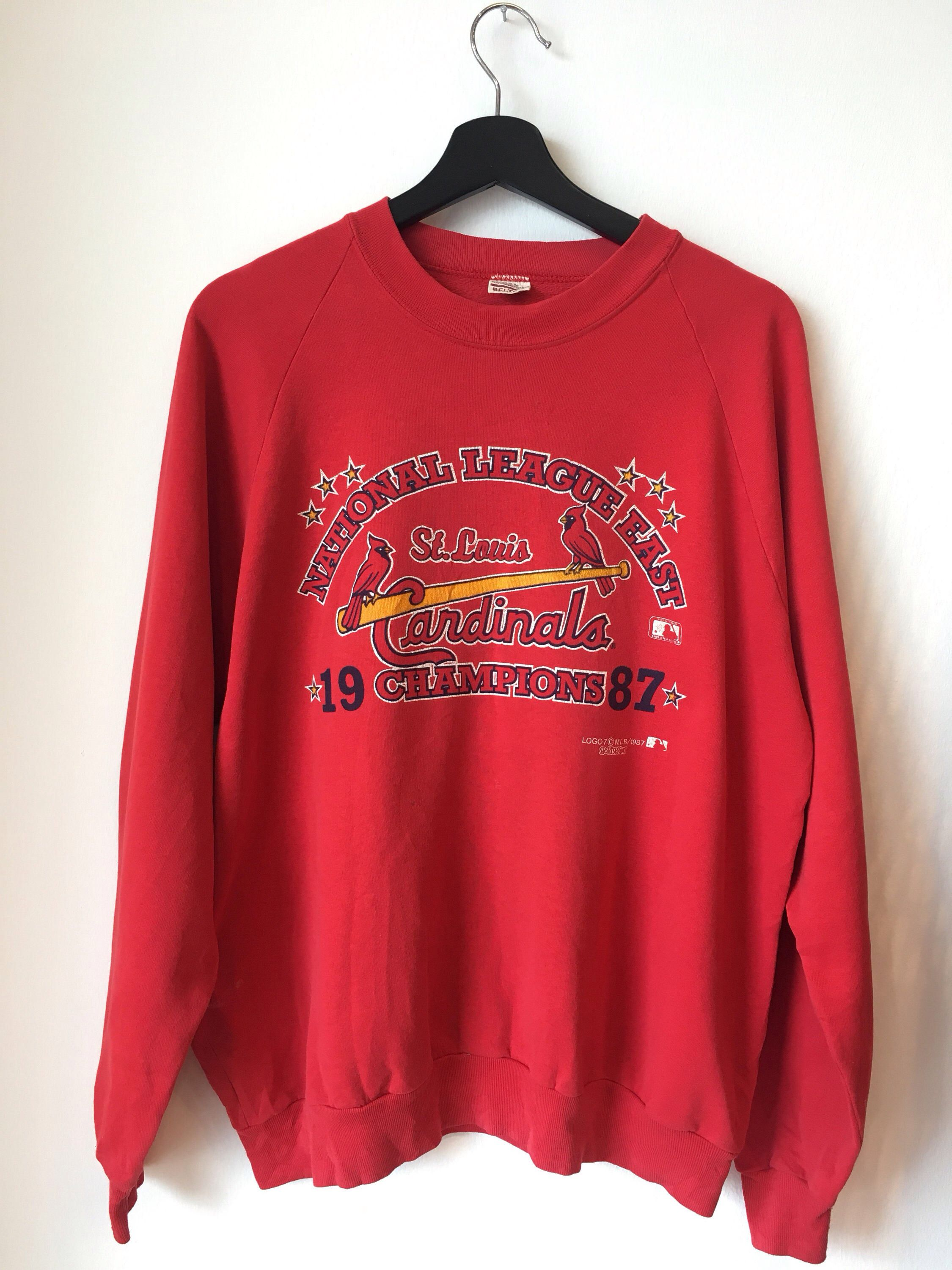 Vintage 80s St Louis Cardinals Champions National League East Etsy In 2020 Sweatshirts Used Clothing Baseball Sweatshirts
