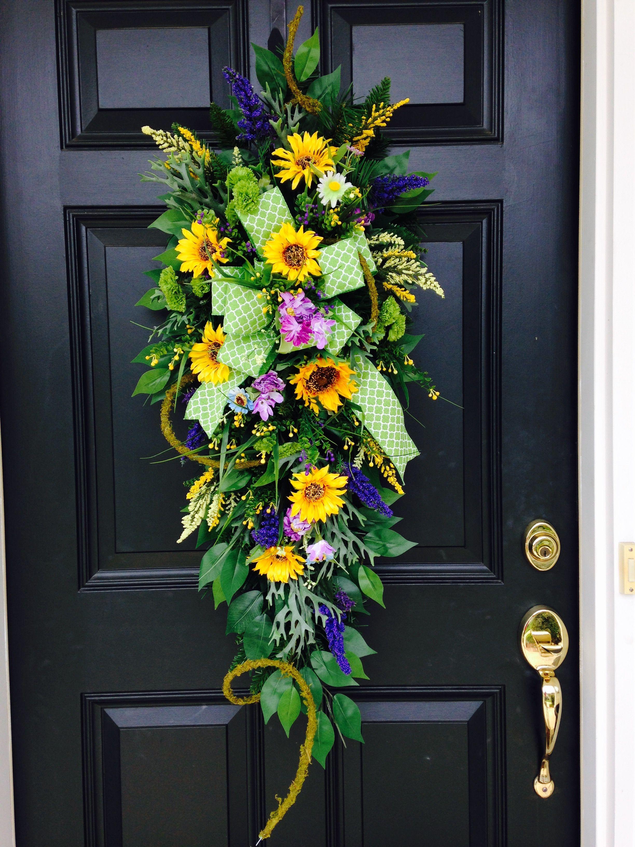 Bright and Happy Door Swag! Sunflowers,green mini ...