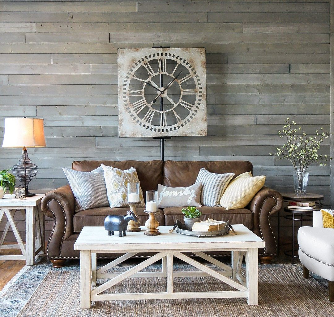 Living And Family Rooms Farmhouse Living Rooms Brown Leather Furniture And Planked Walls