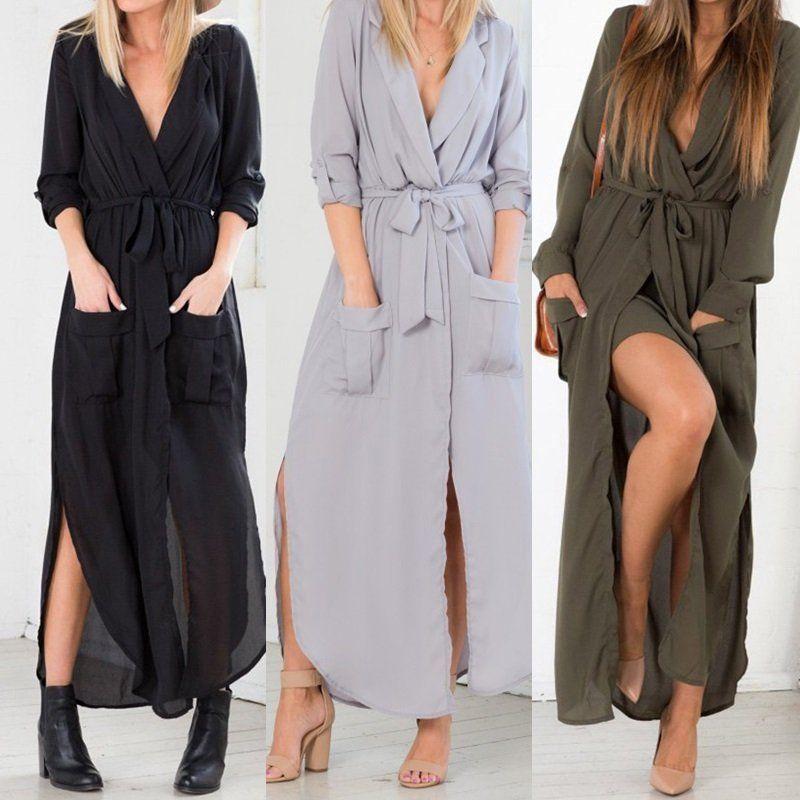 ae98edf9d83 Women Loose Casual Shirt Dress Belt Split V Neck Sexy Long Sleeve Maxi Dress   unbrand  ShirtDress  Clubwear