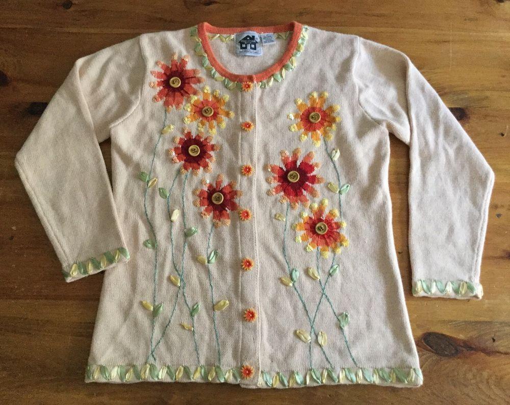 "Storybook Knits Cardigan Sweater Medium ""Blooming Daisies"" Floral Fall Colors #StorybookKnits #Cardigan"