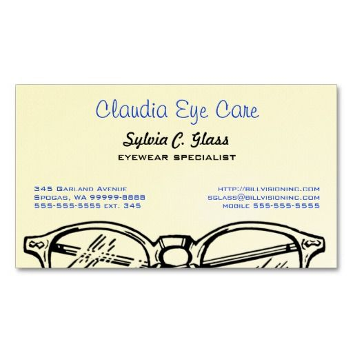 Spectacles Eyewear Optical Vision Business Card Template Doctor Business Cards Business Card Template Optical Eyewear