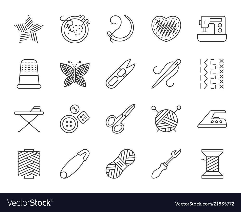 Needlework simple black line icons set vector image on