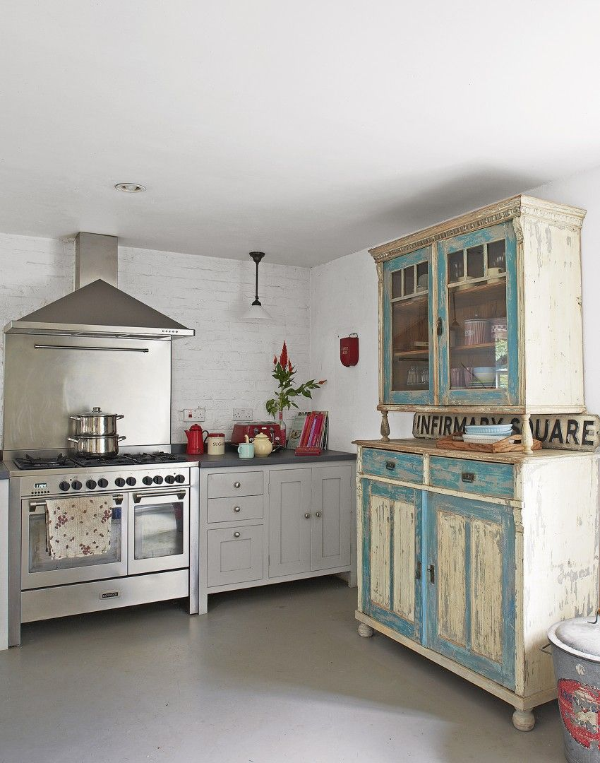 Country kitchen with distressed vintage dresser Ideas for the