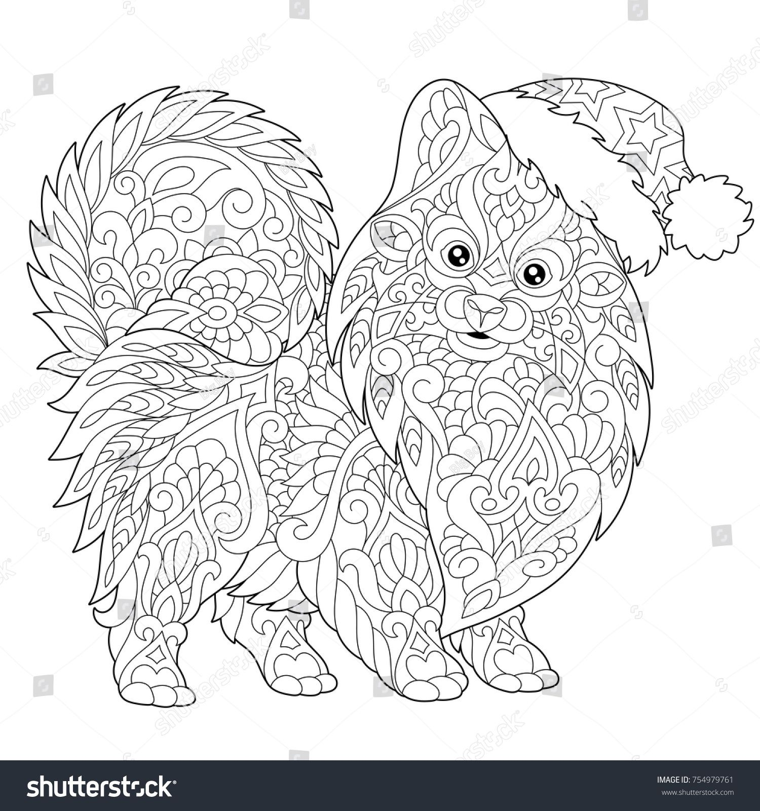 Coloring Page Of Pomeranian Dog Symbol Of 2018 Chinese New Year