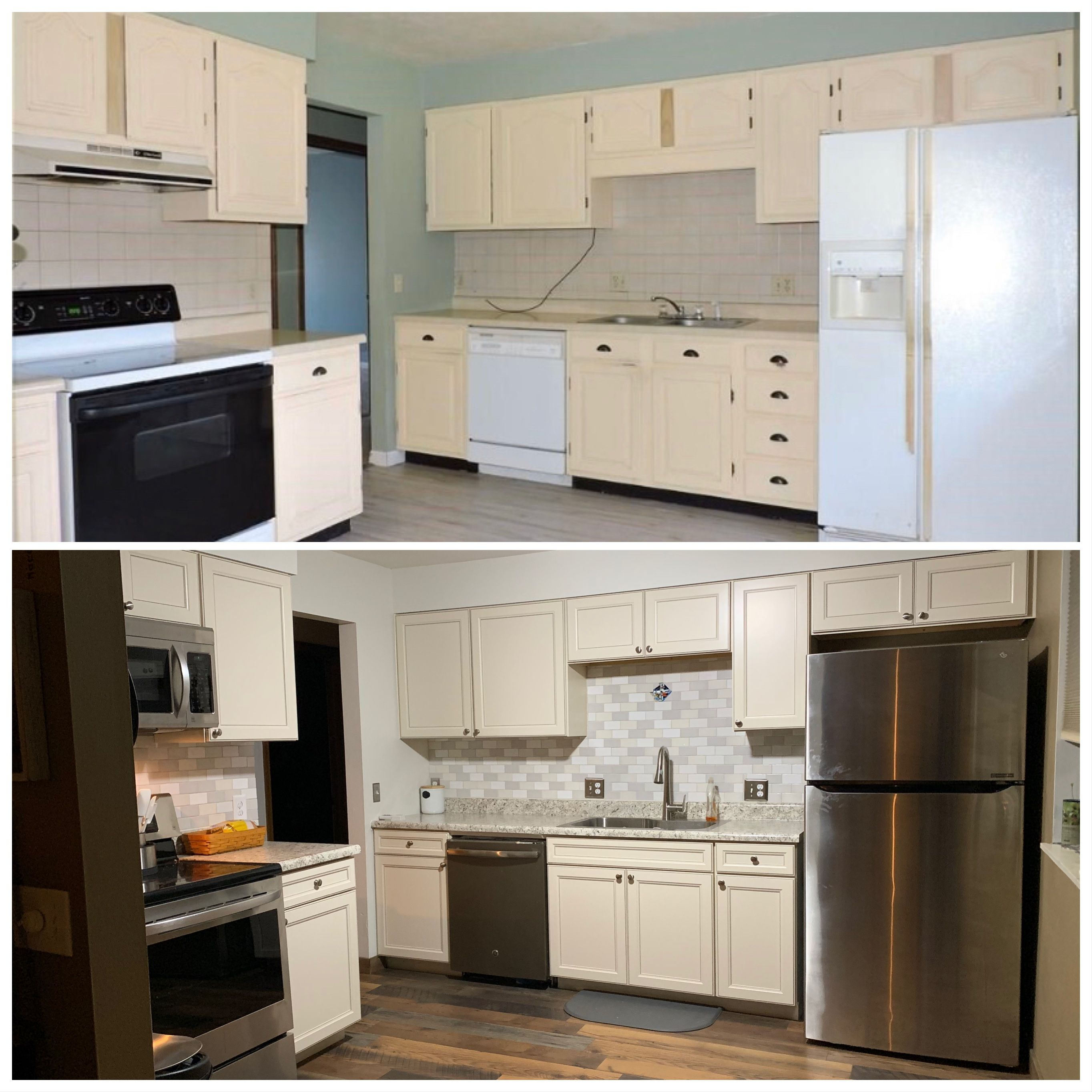 Before After Kitchen Remodel Diamond Now Caspian Cabinets Lg Stainless Steel Appliances New Backsplash Before After Kitchen Kitchen Remodel Pergo Flooring