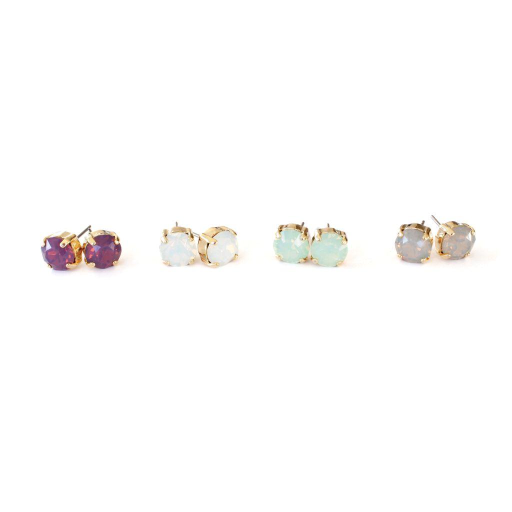 Swarovski crystal stud earrings in gorgeous pastel tones