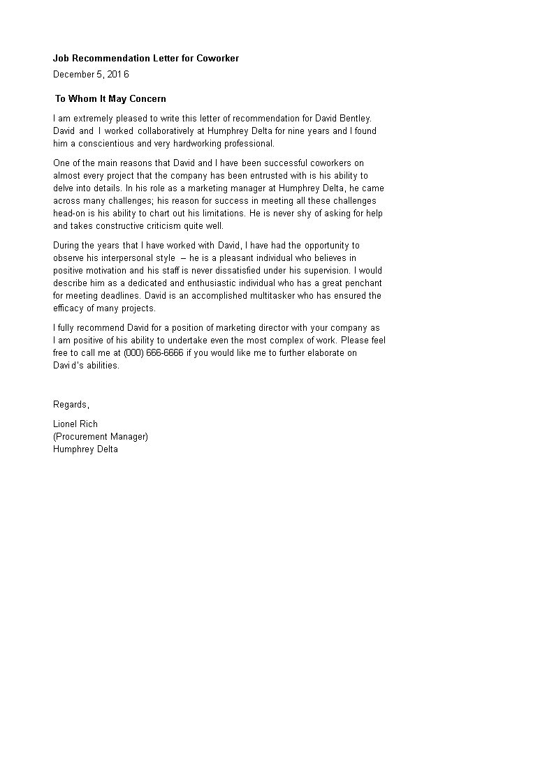 Job Recommendation Letter For Coworker How To Create A Job