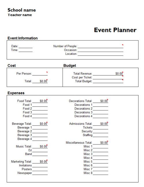 Party Planning Budget Worksheet - Worksheets
