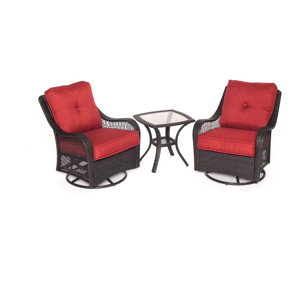 Hanover orleans 3 piece all weather wicker patio swivel rocking chat set with autumn berry cushions