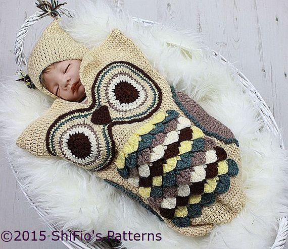 Patrón ganchillo para capullo búho & sombrero del bebé U.K, U.S.A ...