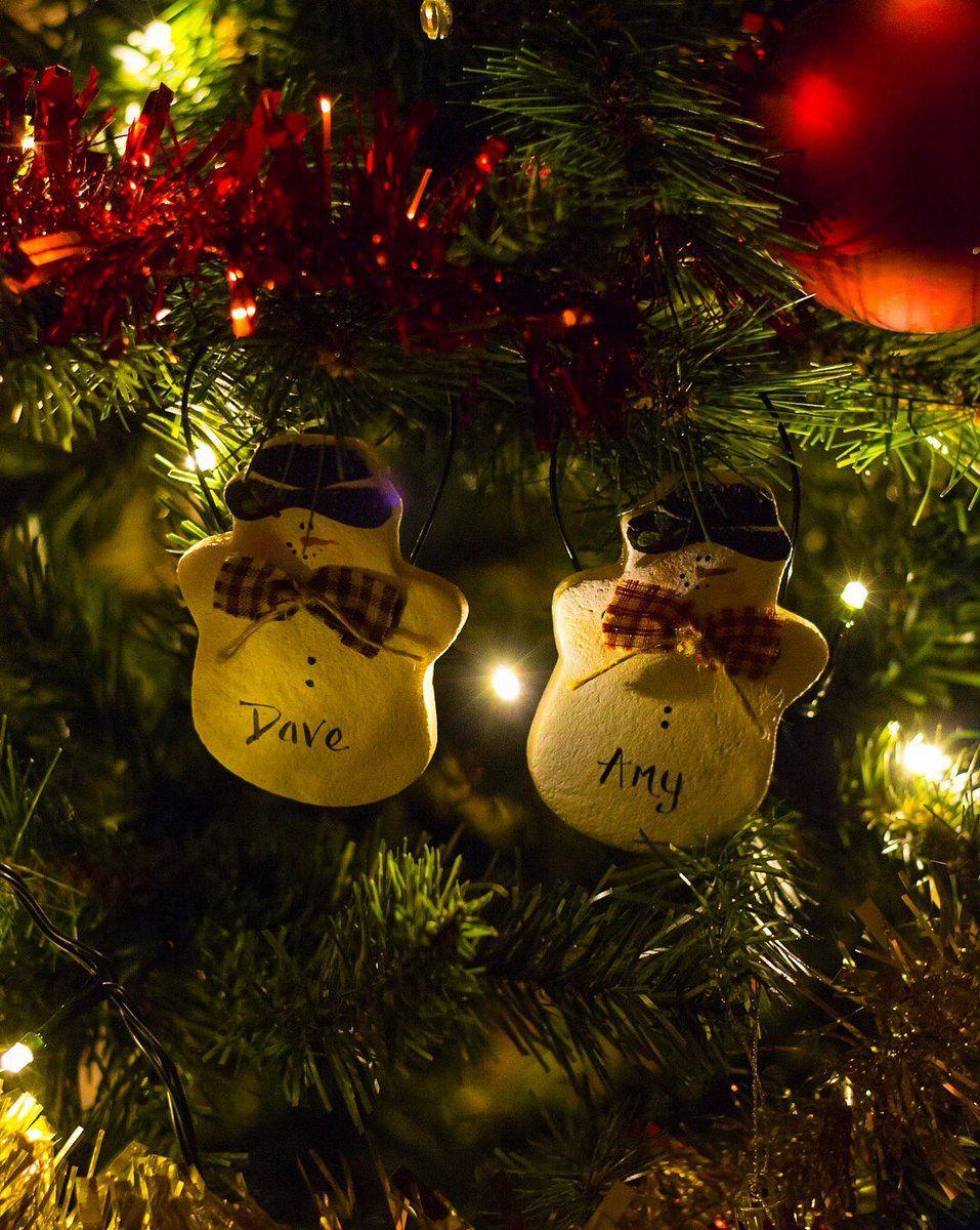 Personalised His & Hers Hanging Snowmen Salt Dought
