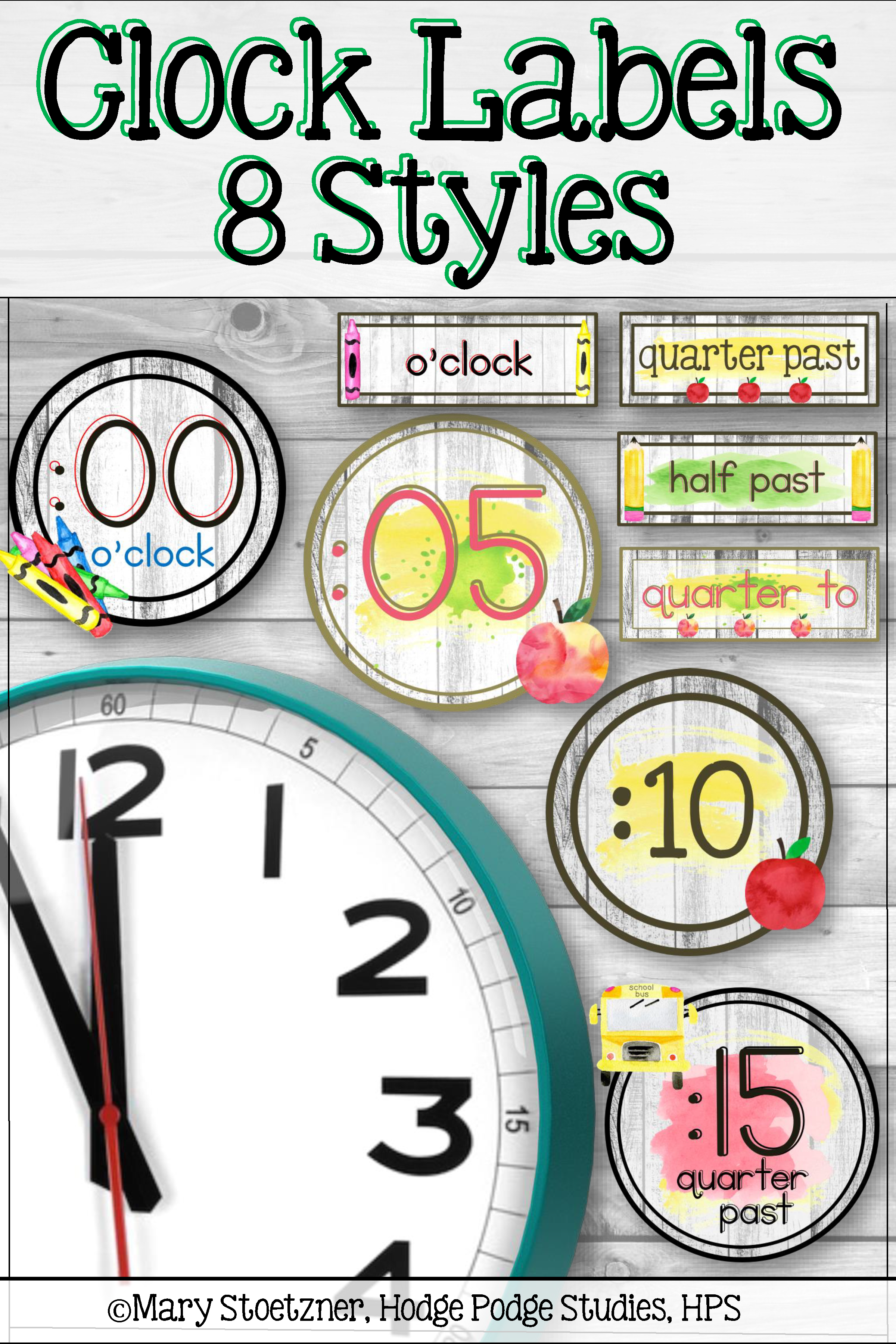 Watercolor Clock Labels Telling Time Worksheets