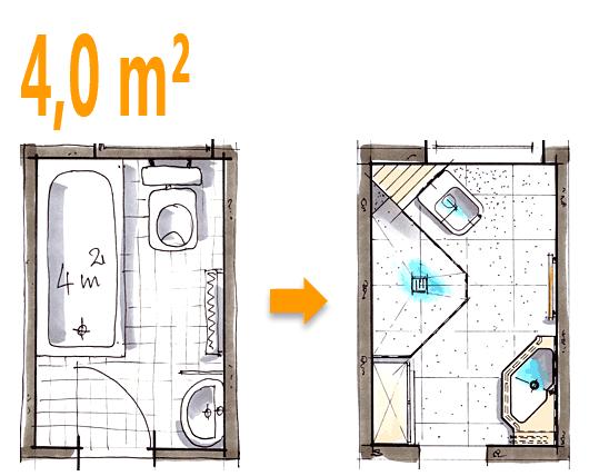 Badplanung Beispiel 4 Qm Spezielle Duschlösung Im Ehemaligen Wannenbad  Badezimmer Grundriss, Dachgeschoss, Kleines Bad