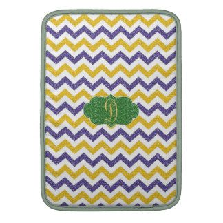 Blue And Yellow Monogram Chevron Pattern Case Sleeve For MacBook Air