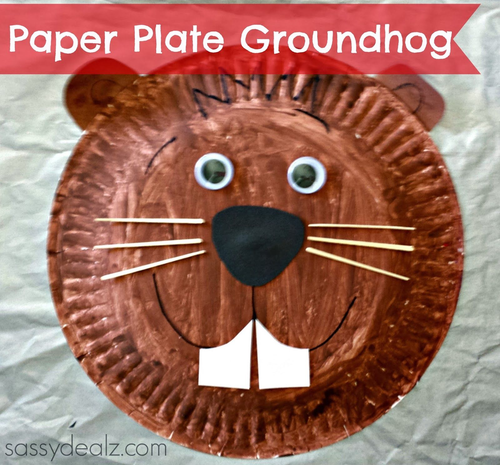 Groundhog paper plate craft for kids groundhogs day art for Groundhog day crafts for preschoolers