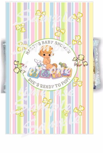 Personalized Precious Moments Baby Shower Popcorn Wrappers Ready To