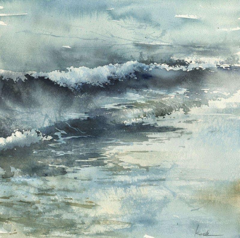 Kanta Harusaki Watercolor Vackra Malningar Malningar Akvarellkonst