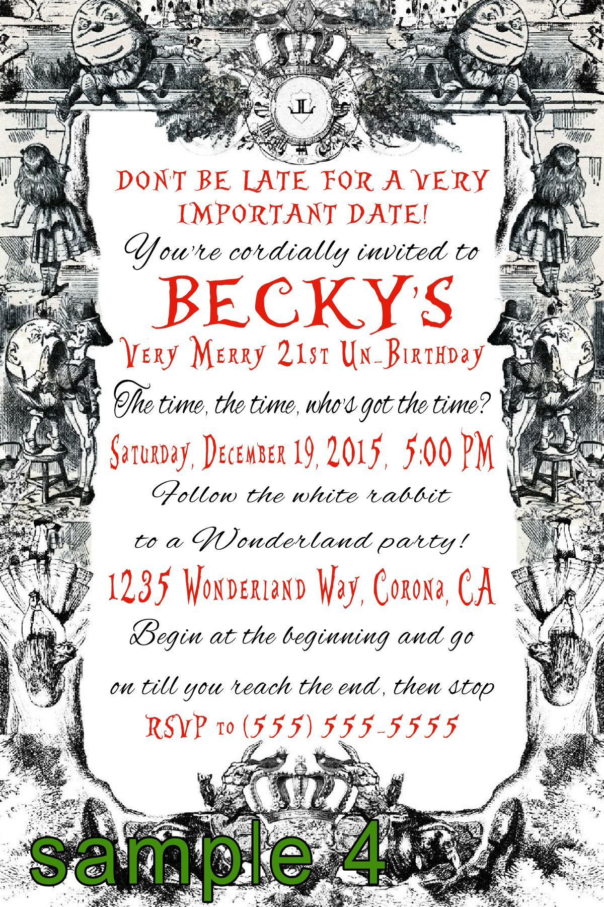 Alice in Wonderland Birthday Invitation- Click on the image twice to ...