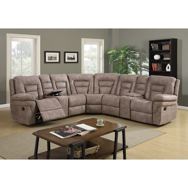 Delightful Sweltery Pecan Sectional W/ 2 Motion Recliners | Motion Sectionals |  Discount Direct Furniture And