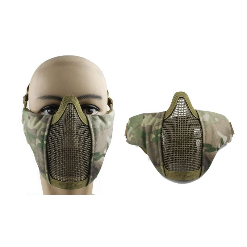 WoSporT Tactical Airsoft Mask Half Lower Face Metal Steel Net Sport Cycling Mask