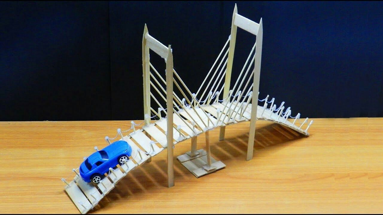 Popsicle Stick Bridge | dollhouse | Popsicle stick bridges ...