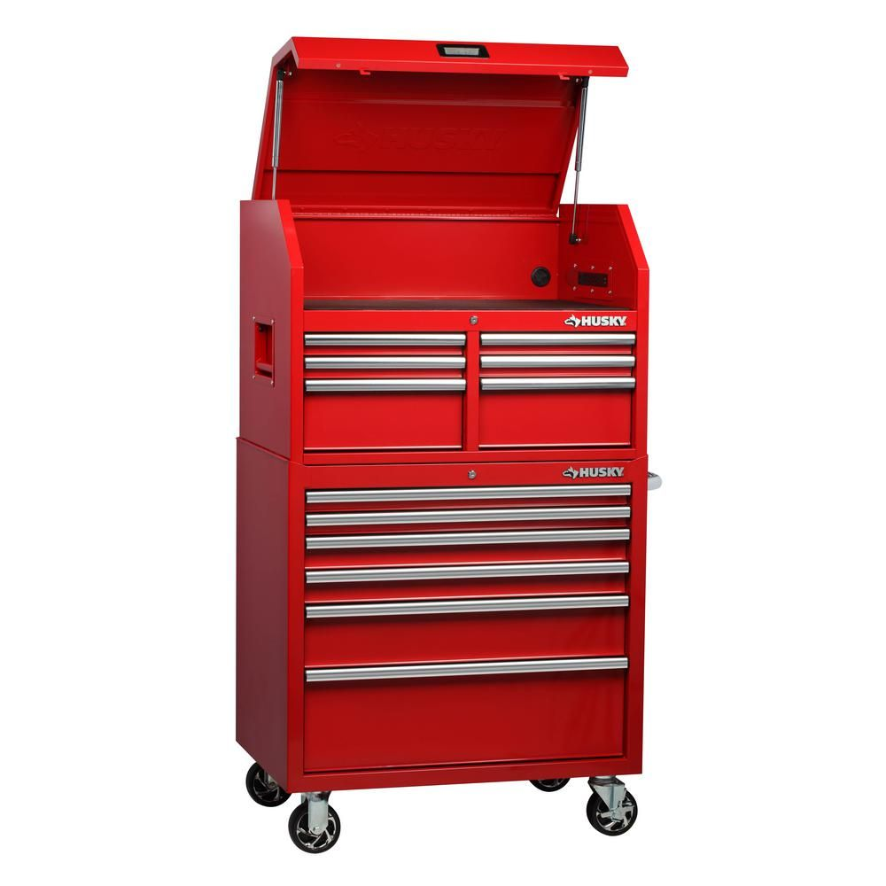 Husky 36 In W 24 5 In D 12 Drawer Tool Chest And Cabinet Combo