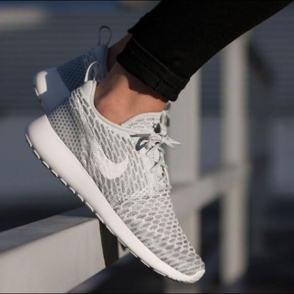 "Nike Roshe One Flyknit ""Pure Platinum"" Nike women's Roshe One Flyknit (Pure  Platinum / White - Cool Grey) Women's size NEW in box (no lid) Nike Shoes  ..."