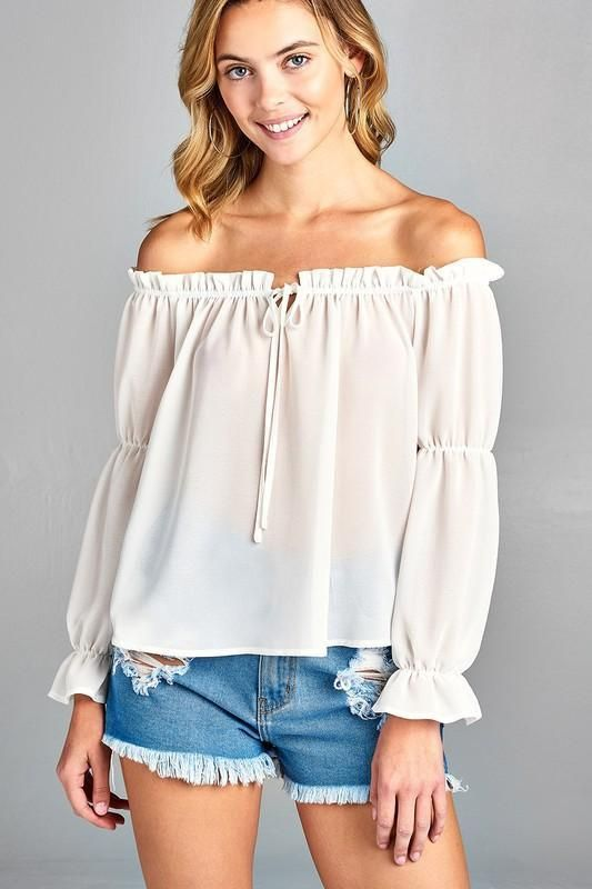 c2dd6be0e91 Women's Puff Long Sleeve Ruffled Front Tie Off Shoulder Top ...