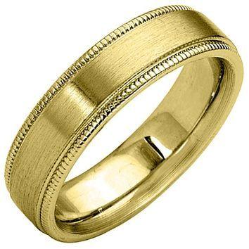 Jewelry Masters : Mens 14KT Yellow Gold 5mm Satin Milgrain Comfort Fit Wedding Band [69-AY] - $525.00 (1050.00)