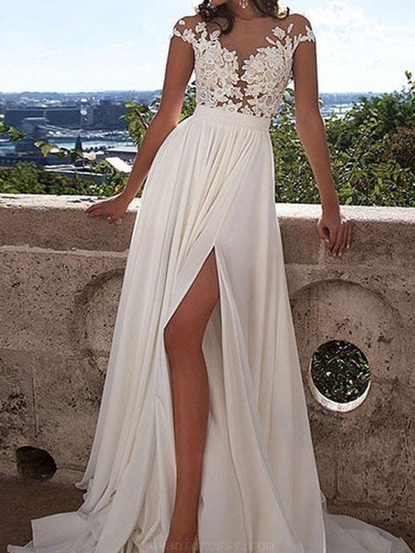 28fe224df Chiffon Wedding Dresses, Wedding Dresses 2018, Wedding Dresses Lace #Wedding  #Dresses #2018 #Chiffon #Lace