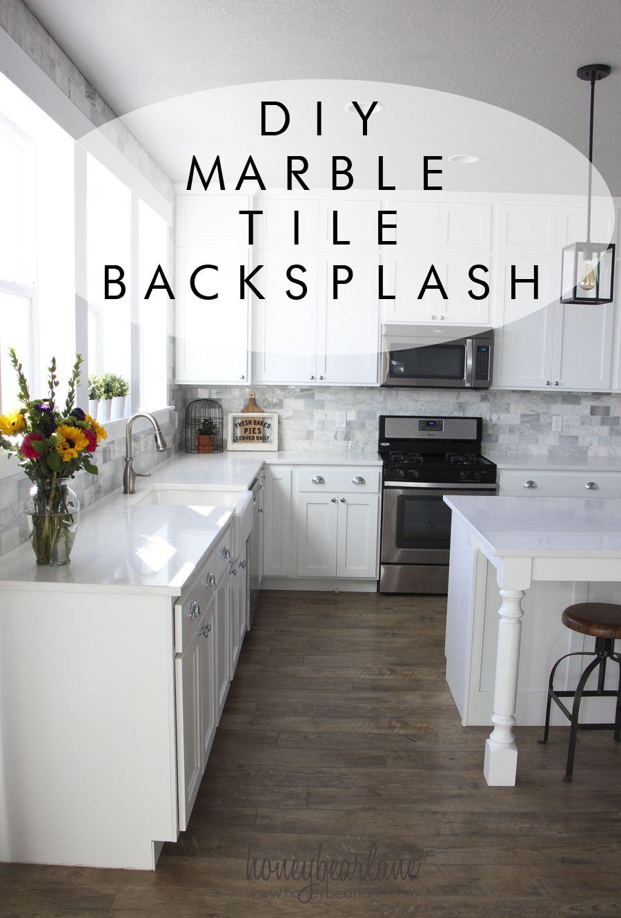My DIY Marble Backsplash | Marble tile backsplash, Kitchen styling ...