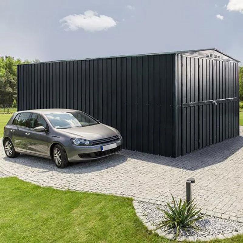 10 X 17 Lotus Anthracite Grey Double Door Metal Garage 3 07m X 5 26m 307m 5 307m 526m307m Anthracite Door Double Garage Grey Lotus In 2020 Metal Garages
